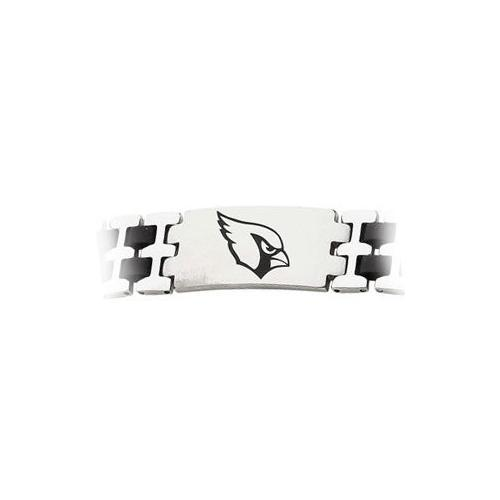 Stainless Steel and Rubber Arizona Cardinals Team Logo Bracelet - 8 Inch
