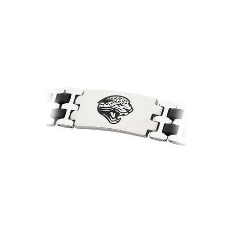 Stainless Steel and Rubber Jacksonville Jaguars Team Logo Bracelet - 8 Inch