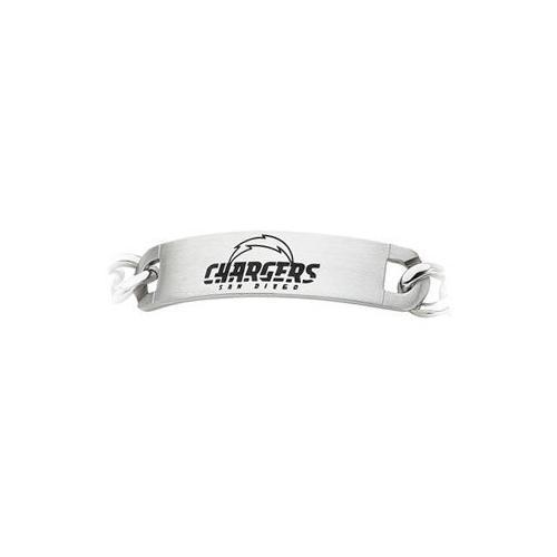 Stainless Steel San Diego Chargers Team Name and Logo ID Bracelet - 8 Inch