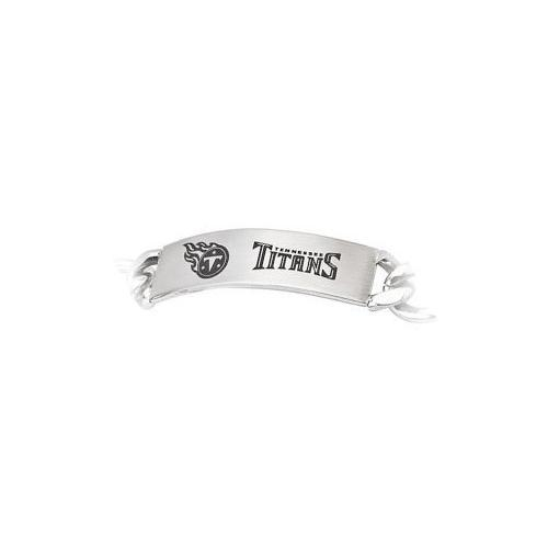 Stainless Steel Tennessee Titans Team Name and Logo ID Bracelet - 8 Inch