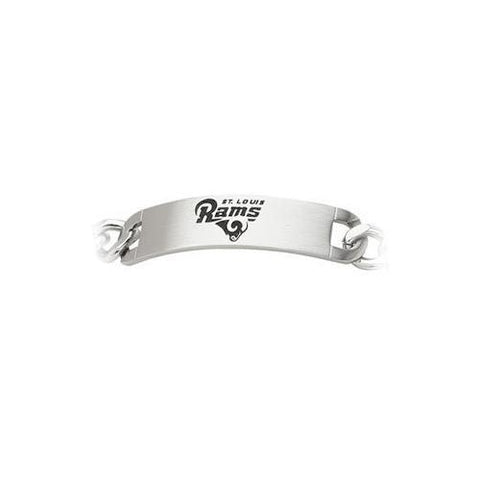 Stainless Steel St. Louis Rams Team Name and Logo ID Bracelet - 8 Inch