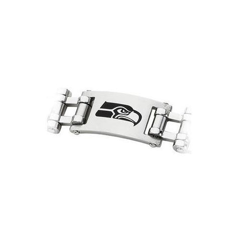 Stainless Steel Seattle Seahawks Team Logo Bracelet - 8 Inch
