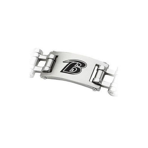 Stainless Steel Baltimore Ravens Team Logo Bracelet - 8 Inch