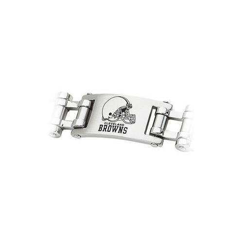 Stainless Steel Cleveland Browns Team Logo Bracelet - 8 Inch
