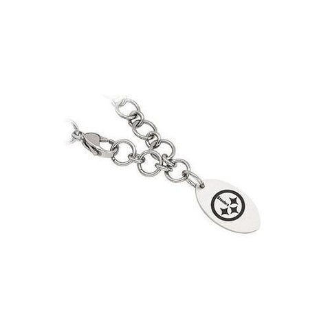 Stainless Steel Pittsburgh Steelers Dangle Logo Bracelet - 8 Inch