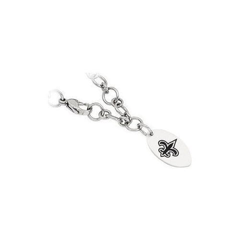 Stainless Steel New Orleans Saints Logo Dangle Bracelet - 8 Inches