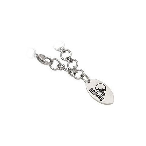 Stainless Steel Cleveland Browns Dangle Logo Bracelet - 8 Inch