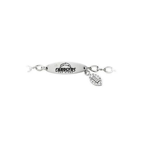 Stainless Steel San Diego Chargers Team Name and Logo Dangle Bracelet - 7.5 Inches