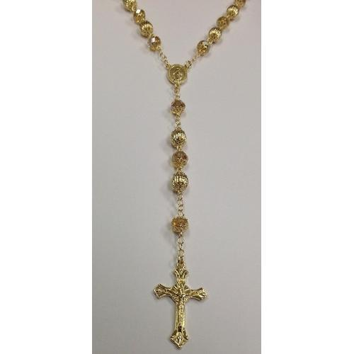 "Gold Electroplated Rosary 24""-26"" with Champagne colored crystals in a Red Pouch"