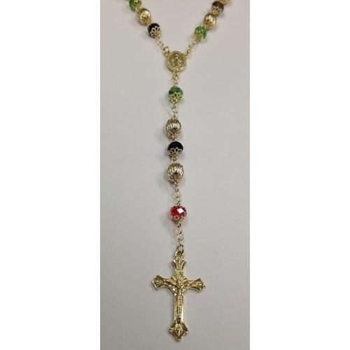 "Gold Electroplated Rosary 24""-26"" with Multi-Colored Crystals in a Red Pouch"