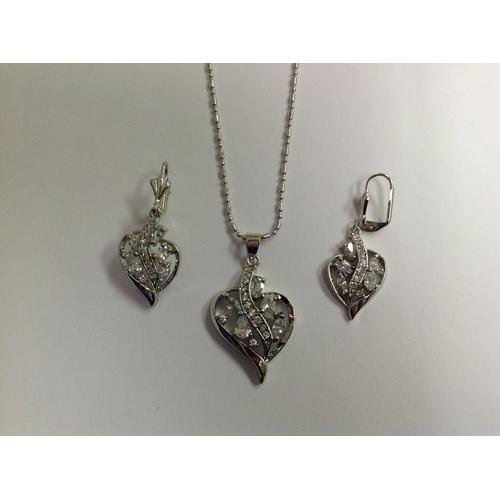 Heart Clear CZ Necklace and Earring Set Rhodium Plated in Gift Box