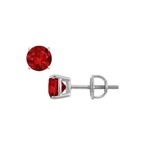 14K White Gold : Prong Set Ruby Stud Earrings 0.50 CT TGW