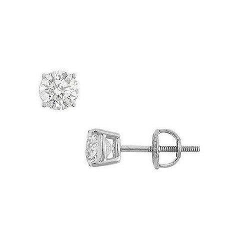 14K White Gold : Round Cubic Zirconia Stud Earrings  1.00 CT. TGW.