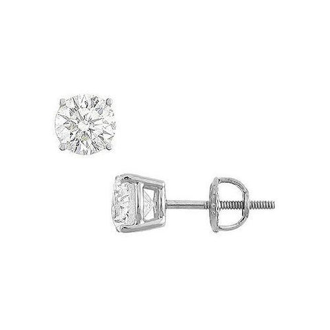 14K White Gold : Round Cubic Zirconia Stud Earrings  2.00 CT. TGW.