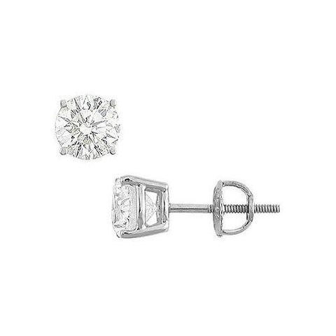14K White Gold : Round Cubic Zirconia Stud Earrings  3.00 CT. TGW.