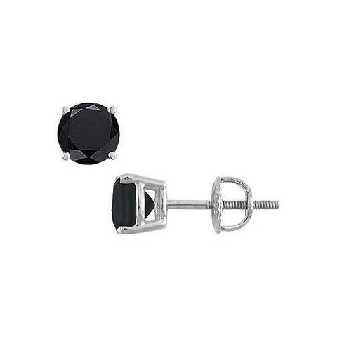 14K White Gold : Round Black Onyx Stud Earrings 4.00 CT TGW.