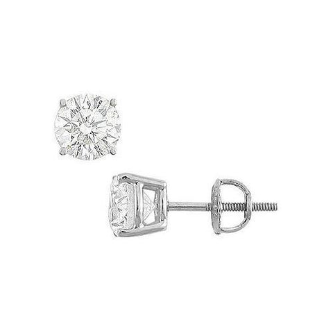 14K White Gold : Round Cubic Zirconia Stud Earrings  4.00 CT. TGW.