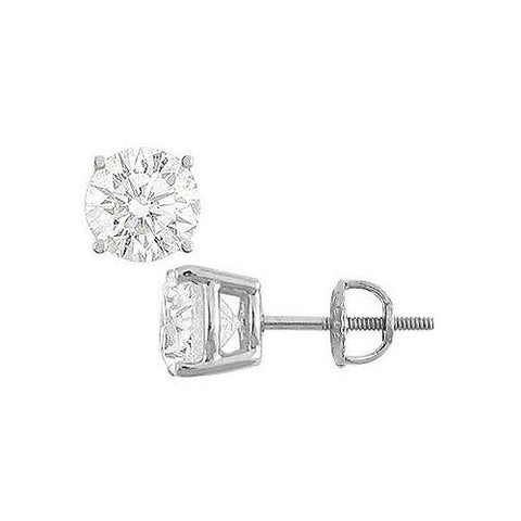 14K White Gold : Round Cubic Zirconia Stud Earrings  8.00 CT. TGW.