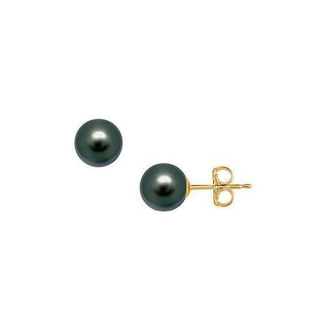 Akoya Cultured Pearl Stud Earrings : 14K Yellow Gold – 10 MM