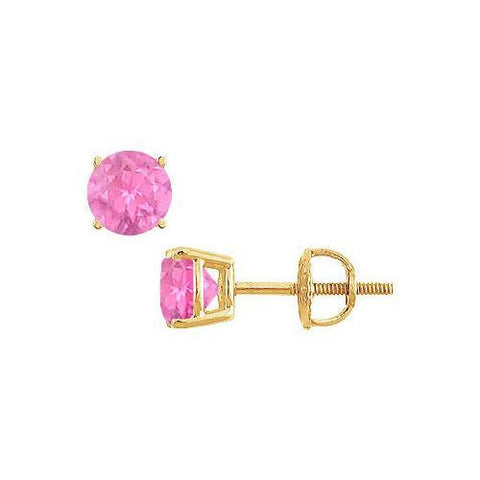 14K Yellow Gold : Prong Set Pink Sapphire Stud Earrings 0.50 CT TGW