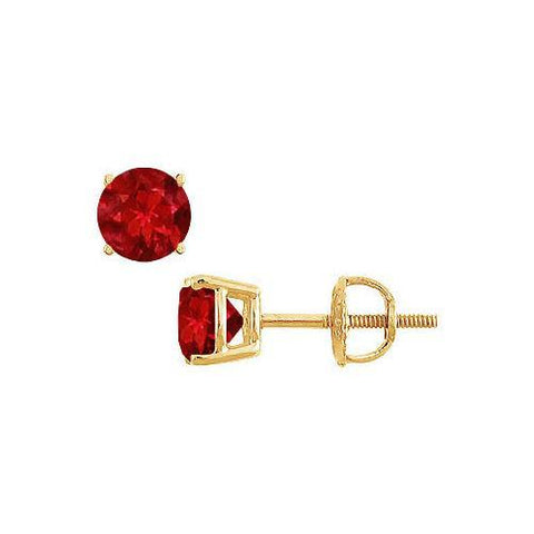 14K Yellow Gold : Prong Set Ruby Stud Earrings 1.00 CT TGW