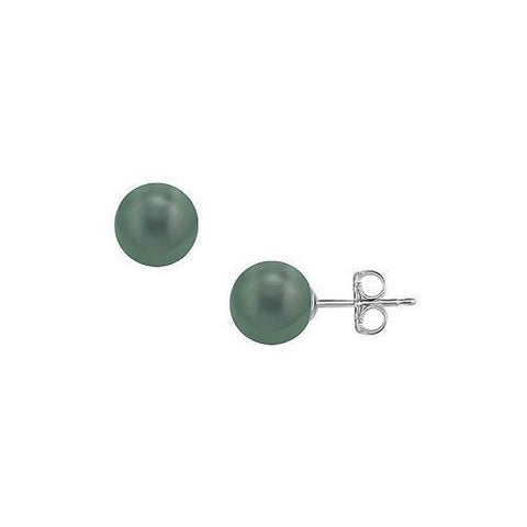 Tahitian Pearl Stud Earrings : 18K White Gold – 12 MM