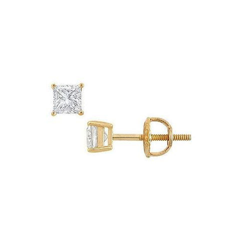 18K Yellow Gold : Princess Cut Diamond Stud Earrings – 0.33 CT. TW.