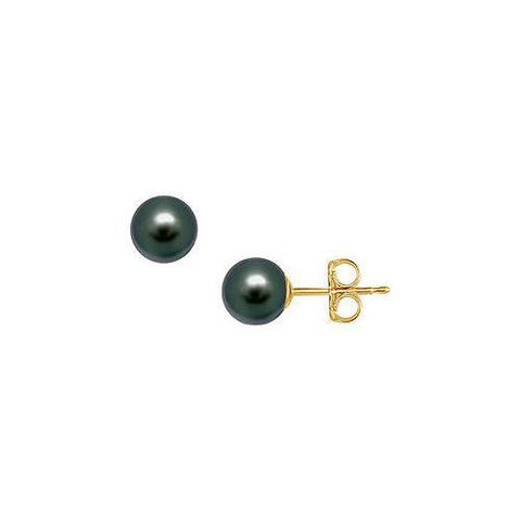 Tahitian Pearl Stud Earrings : 18K Yellow Gold – 9 MM