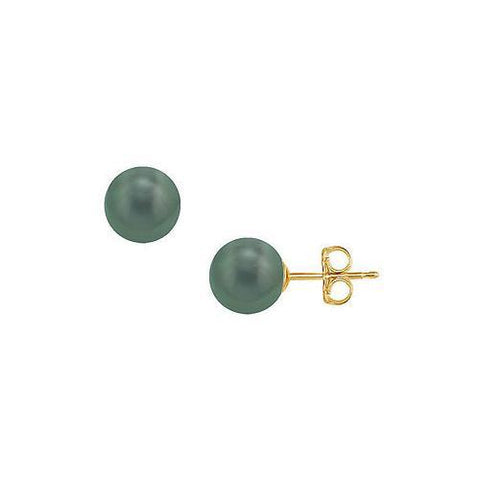 Tahitian Pearl Stud Earrings : 18K Yellow Gold – 12 MM