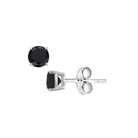 Black Onyx Stud Earrings in Sterling Silver 2.00 CT TGW