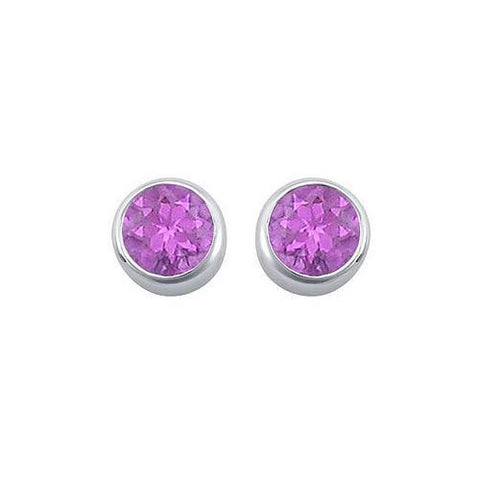 Amethyst Bezel-Set Stud Earrings : .925 Sterling Silver - 2.00 CT TGW