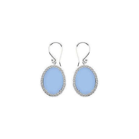 Sterling Silver Aqua Chalcedony and Cubic Zirconia Earrings 31.00 CT TGW