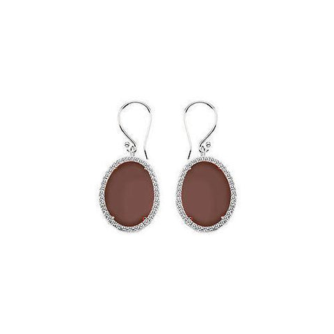 Sterling Silver Chocolate Chalcedony and Cubic Zirconia Earrings 31.00 CT TGW
