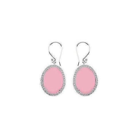 Sterling Silver Pink Chalcedony and Cubic Zirconia Earrings 31.00 CT TGW