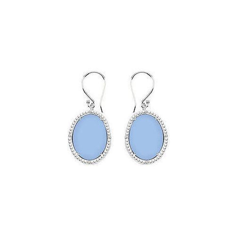 Sterling Silver Aqua Chalcedony and Cubic Zirconia Earrings 30.16 CT TGW