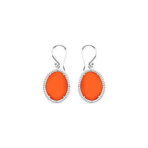 Sterling Silver Orange Chalcedony and Cubic Zirconia Earrings 30.16 CT TGW