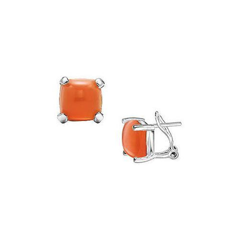 Orange Chalcedony Earrings : 14K White Gold - 10.00 CT TGW