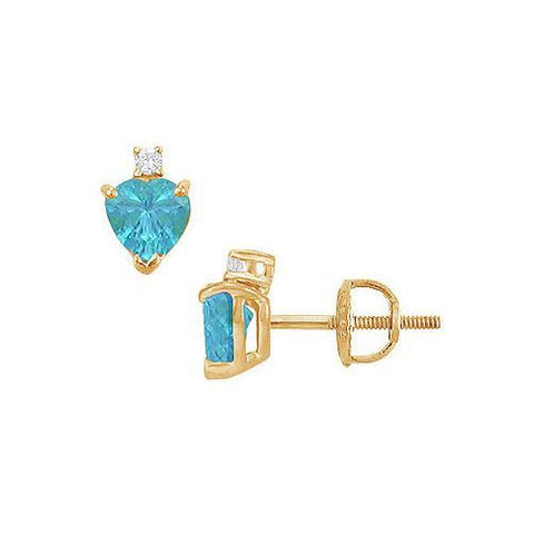 Diamond and Blue Topaz Stud Earrings : 14K Yellow Gold - 2.04 CT TGW