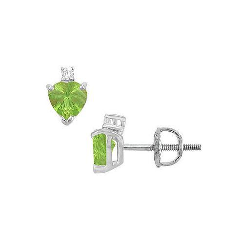 Diamond and Peridot Stud Earrings : 14K White Gold - 2.04 CT TGW