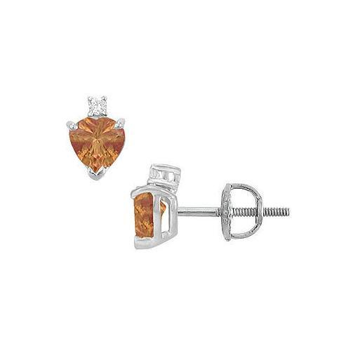 Diamond and Smoky Topaz Stud Earrings : 14K White Gold - 2.04 CT TGW