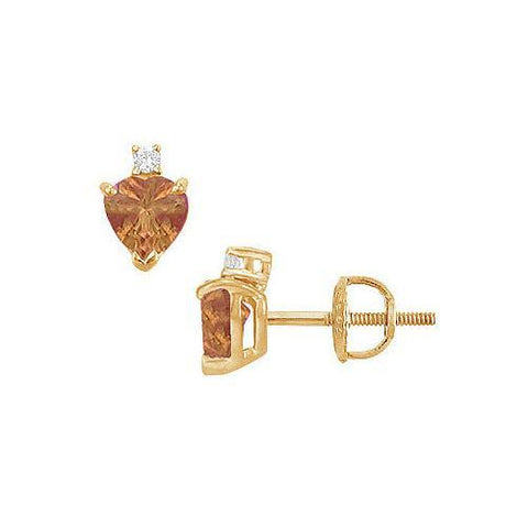 Diamond and Smoky Topaz Stud Earrings : 14K Yellow Gold - 2.04 CT TGW
