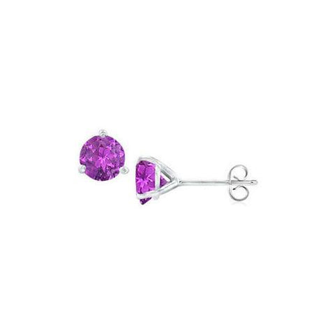 Sterling Silver Martini Style Amethyst Stud Earrings with 1.00 CT TGW