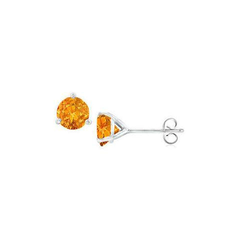 Sterling Silver Martini Style Citrine Stud Earrings with 1.00 CT TGW