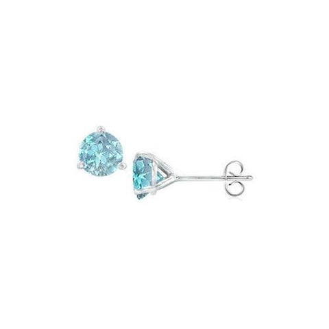 14K White Gold Martini Style Aquamarine Stud Earrings with 1.00 CT TGW