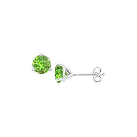 14K White Gold Martini Style Peridot Stud Earrings with 1.00 CT TGW