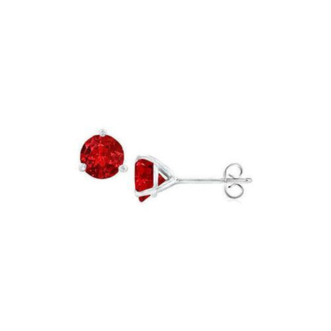 14K White Gold Martini Style Ruby Stud Earrings with 1.00 CT TGW