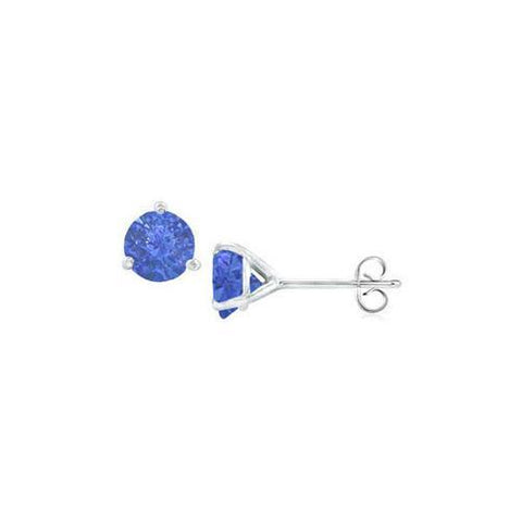14K White Gold Martini Style Blue Sapphire Stud Earrings with 1.00 CT TGW