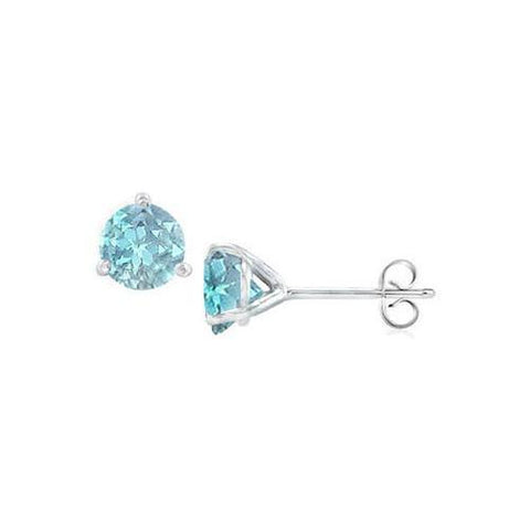 14K White Gold Martini Style Aquamarine Stud Earring with 2.00 CT TGW