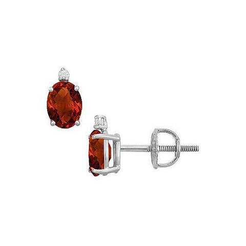 Diamond and Garnet Stud Earrings : 14K White Gold - 2.04 CT TGW