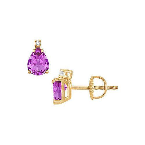 Diamond and Amethyst Stud Earrings : 14K Yellow Gold - 2.04 CT TGW